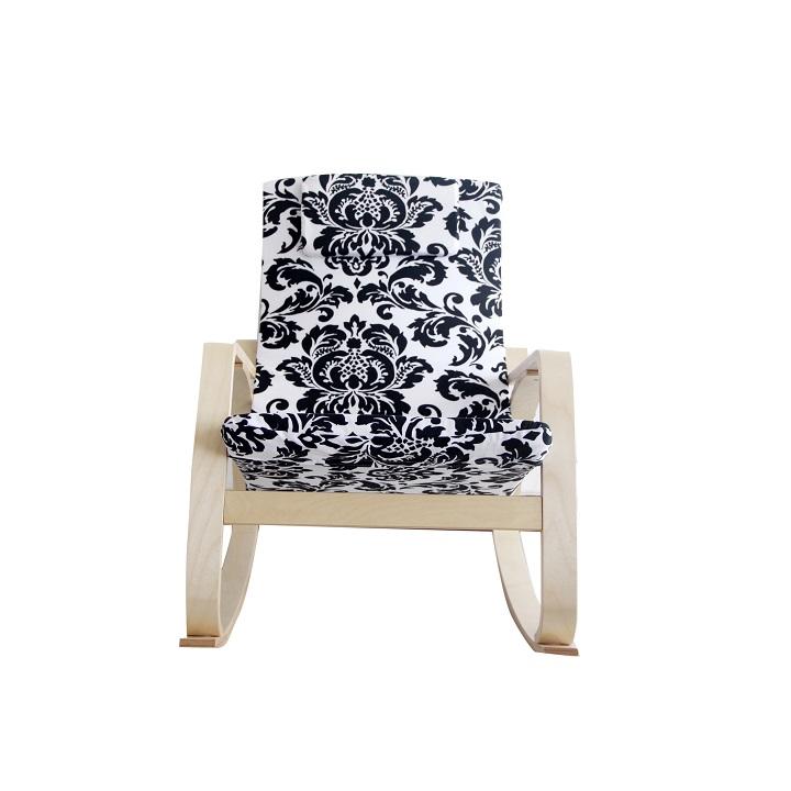 MARTEN relaxációs szék, fehér és fekete színű virágos mintás szövet természetes fa színű konstrukció