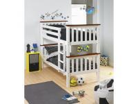 Emeletes, kinyitható ágy ágy, fehér/barna, ROWAN, Kategória:Gyerekágyak, Szélesség:cm Hosszúság:cm Magasság:cm