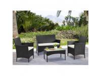Kerti 4 részes rattanszett + 2 párnázott fotel + 2-es ülőrész + dohányzóasztal, wenge+krém, RATTY, Kategória:Étkező garnitúra, Szélesség:cm Hosszúság:cm Magasság:cm