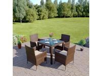 MORTON kerti rattanszett négy székkel, Kategória:Étkező garnitúra, Szélesség:cm Hosszúság:cm Magasság:cm
