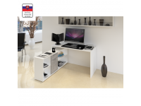 Sarok számítógépasztal , fehér/beton, NOE NEW, Kategória:Íróasztalok, Szélesség:cm Hosszúság:cm Magasság:cm