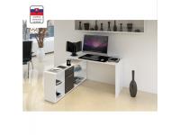 Sarok számítógépasztal , fehér/fekete, NOE NEW, Kategória:Íróasztalok, Szélesség:cm Hosszúság:cm Magasság:cm