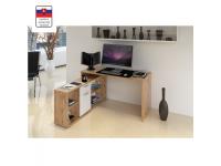 Sarok számítógépasztal , wotan tölgyfa/fehér, NOE NEW, Kategória:Íróasztalok, Szélesség:cm Hosszúság:cm Magasság:cm