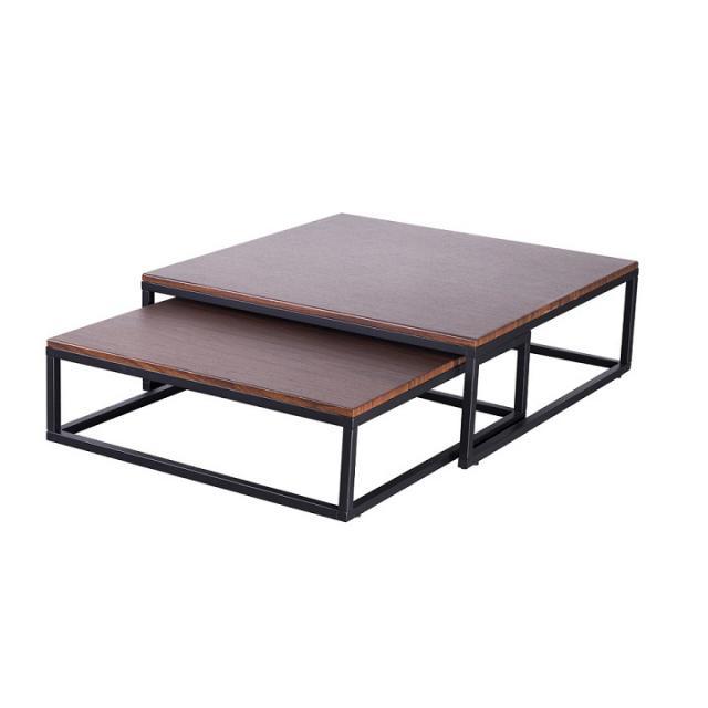 2 darabos dohányzóasztal szett, fém, dió/fekete, SIBEL, Kategória:Asztalok (dohányzó), Szélesség:cm Hosszúság:cm Magasság:cm