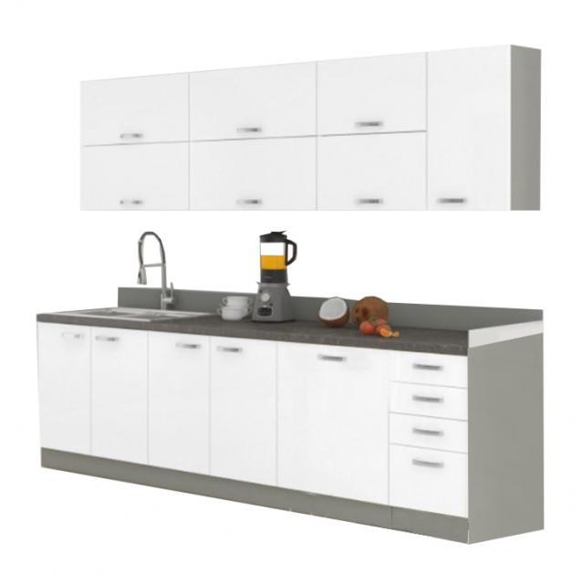Alapkonyha,fehér extra magas fényű HG/fehér extra magas fényű HG, PRADO, Kategória:Elemes konyhák, Szélesség:cm Hosszúság:cm Magasság:cm