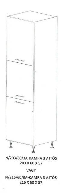 Alíz N/203/60/3A - 3 ajtós kamraszekrény, Kategória:Elemes konyhabútorok, Szélesség:60cm Hosszúság:57cm Magasság:203cm