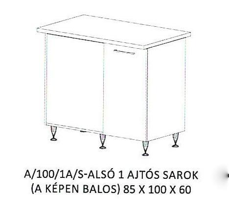 Anikó A/100/1A/S - 1 ajtós balos sarokszekrény, Kategória:Elemes konyhabútorok, Szélesség:100cm Hosszúság:60cm Magasság:85cm