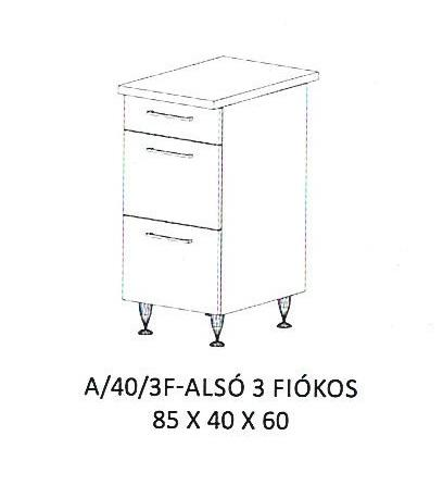 Anikó A/40/3F- 3 fiókos alsó szekrény, Kategória:Elemes konyhabútorok, Szélesség:40cm Hosszúság:60cm Magasság:85cm