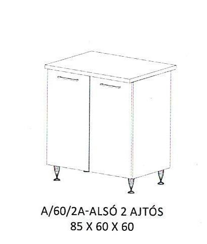 Anikó A/60/2A- 2 ajtós alsó szekrény, Kategória:Elemes konyhabútorok, Szélesség:60cm Hosszúság:60cm Magasság:85cm
