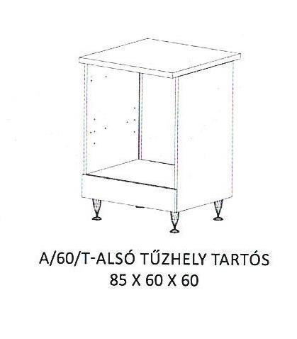 Anikó A/60/T- tűzhely tartós alsó szekrény, Kategória:Elemes konyhabútorok, Szélesség:60cm Hosszúság:60cm Magasság:85cm