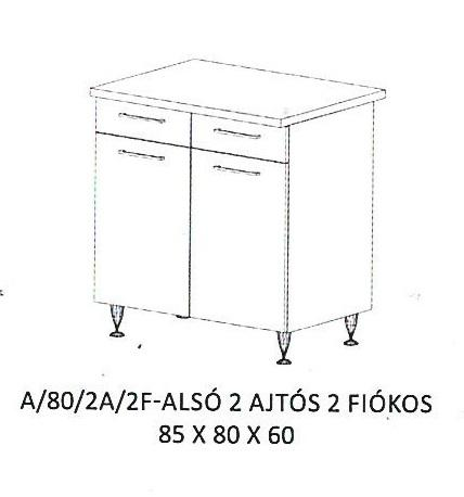 Anikó A/80/2A/2F- 2 ajtós, 2 fiókos alsó szekrény, Kategória:Elemes konyhabútorok, Szélesség:80cm Hosszúság:60cm Magasság:85cm