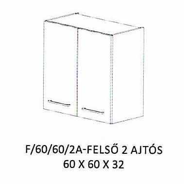 Anikó F/60/60/2A - 2 ajtós felső szekrény, Kategória:Elemes konyhabútorok, Szélesség:60cm Hosszúság:32cm Magasság:60cm