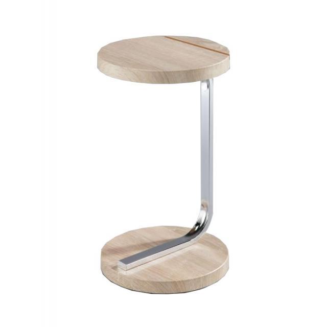 Asztal táblagép tartóval, MDF+króm, sonoma tölgyfa, MILANA, Kategória:Íróasztal és számítógépasztal, Szélesség:cm Hosszúság:cm Magasság:cm