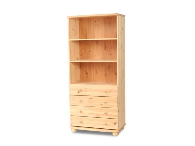 Claudia 4 fiókos, nyitott polcos szekrény, Kategória:Fenyő polcok, Szélesség:180cm Hosszúság:80cm Magasság:45cm