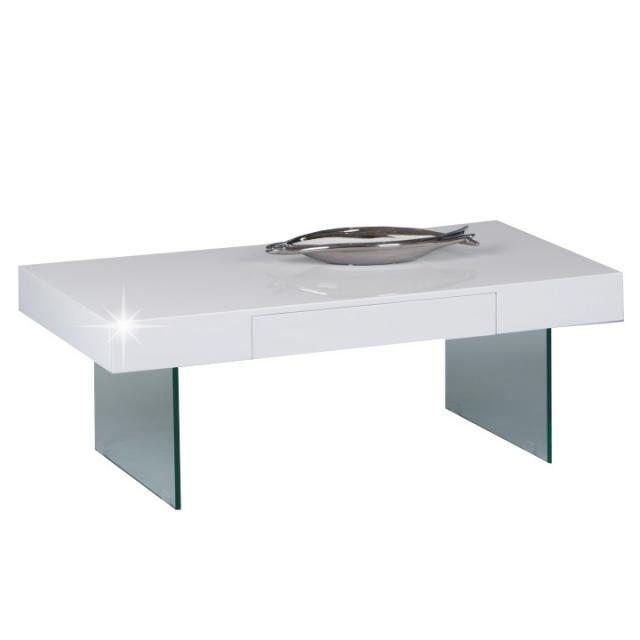 Dohányzóasztal fiókal, extra magas fényű fehér, DAISY TC001, Kategória:Asztalok (dohányzó), Szélesség:cm Hosszúság:cm Magasság:cm