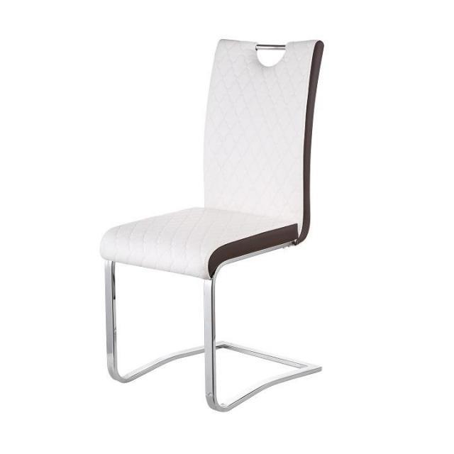 Étkező szék, króm/textilbőr, fehér/barna, IMANE, Kategória:Székek (étkező), Szélesség:cm Hosszúság:cm Magasság:cm