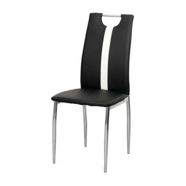 étkezőszék, fekete+fehér textilbőr - fém, SIGNA B-1016, Kategória:Étkező székek, Szélesség:cm Hosszúság:cm Magasság:cm