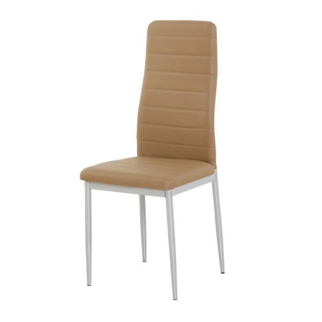 Étkezőszék, karamel textilbőr+fém - szürke, COLETA NOVA, Kategória:Étkező székek, Szélesség:cm Hosszúság:cm Magasság:cm