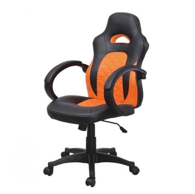 Irodai szék, fekete ekobőr + narancssárga ekobőr, NELSON, Kategória:Irodaszék, Szélesség:cm Hosszúság:cm Magasság:cm