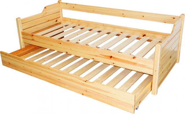 Leo ágykeret vendégágyas, Kategória:Fenyő ágyak és ágykeretek, Szélesség:90cm Hosszúság:200cm Magasság:cm