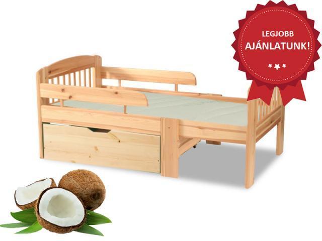 Leo gyerekágy minőségi kókuszmatraccal és ágyneműtartóval, Kategória:Fenyő ágyak és ágykeretek, Szélesség:cm Hosszúság:cm Magasság:cm