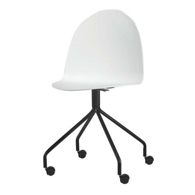 modern formatervezett szék kereken, fehér/fekete, BRUNA 1662-S, Kategória:Székek (étkező), Szélesség:cm Hosszúság:cm Magasság:cm