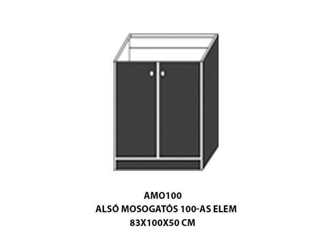 Neszta Alsó mosogatós 100-as elem AMO100, Kategória:Elemes konyhabútorok, Szélesség:100cm Hosszúság:50cm Magasság:83cm