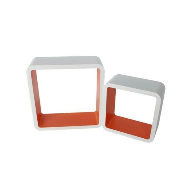 Polckészlet, fehér - narancssárga, FIDO, Kategória:Polcok, Szélesség:cm Hosszúság:cm Magasság:cm