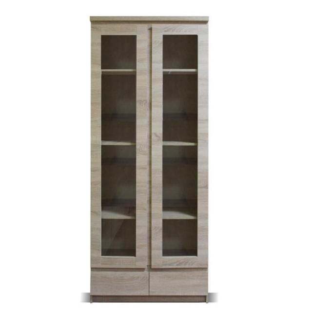 Vitrin, 03 típus, 2 fiókos, 2 ajtós, sonoma tölgyfa, PANAMA, Kategória:Tálalók és vitrinek, Szélesség:cm Hosszúság:cm Magasság:cm